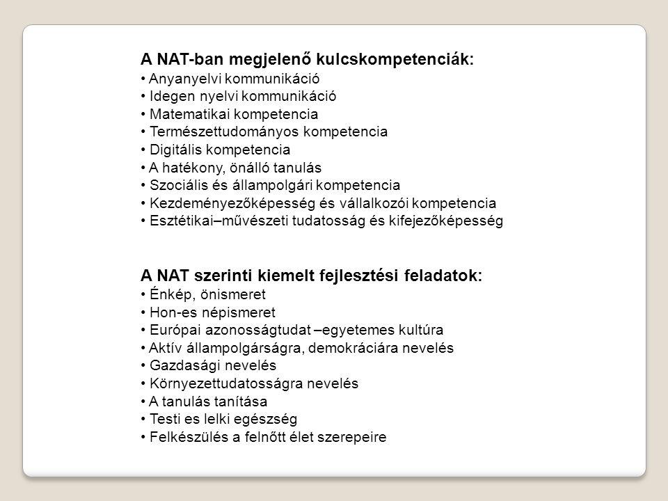 A NAT-ban megjelenő kulcskompetenciák: • Anyanyelvi kommunikáció • Idegen nyelvi kommunikáció • Matematikai kompetencia • Természettudományos kompeten