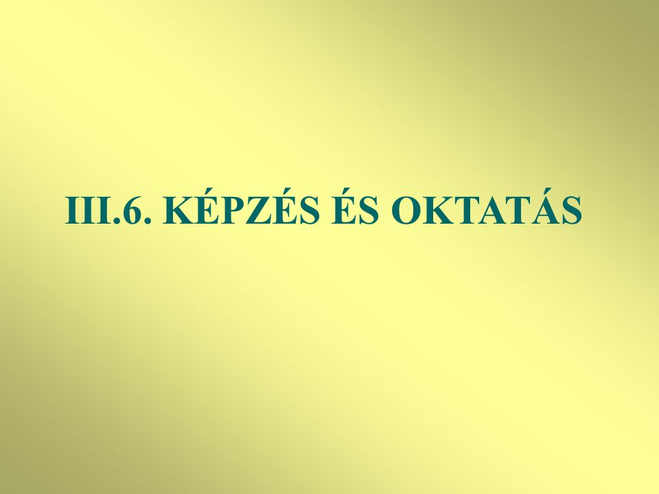 III.6. KÉPZÉS ÉS OKTATÁS