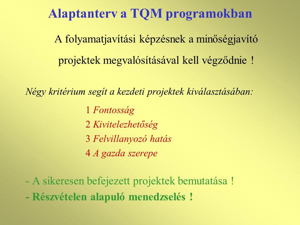 • Gyakorta szükségessé váló kiegészítő kurzusok: - Problémamegoldás - Statisztikai folyamatellenőrzés - Benchmarking - Egyéb kurzusok • Hogyan bonyolítsuk le a képzést.