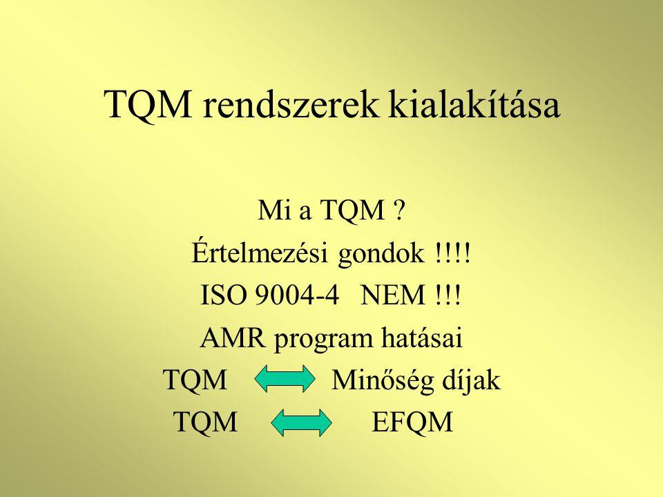 TQM rendszerek kialakítása Mi a TQM .Értelmezési gondok !!!.