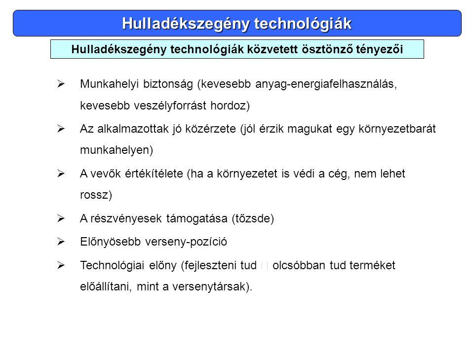 Hulladékszegény technológiák  Munkahelyi biztonság (kevesebb anyag-energiafelhasználás, kevesebb veszélyforrást hordoz)  Az alkalmazottak jó közérze