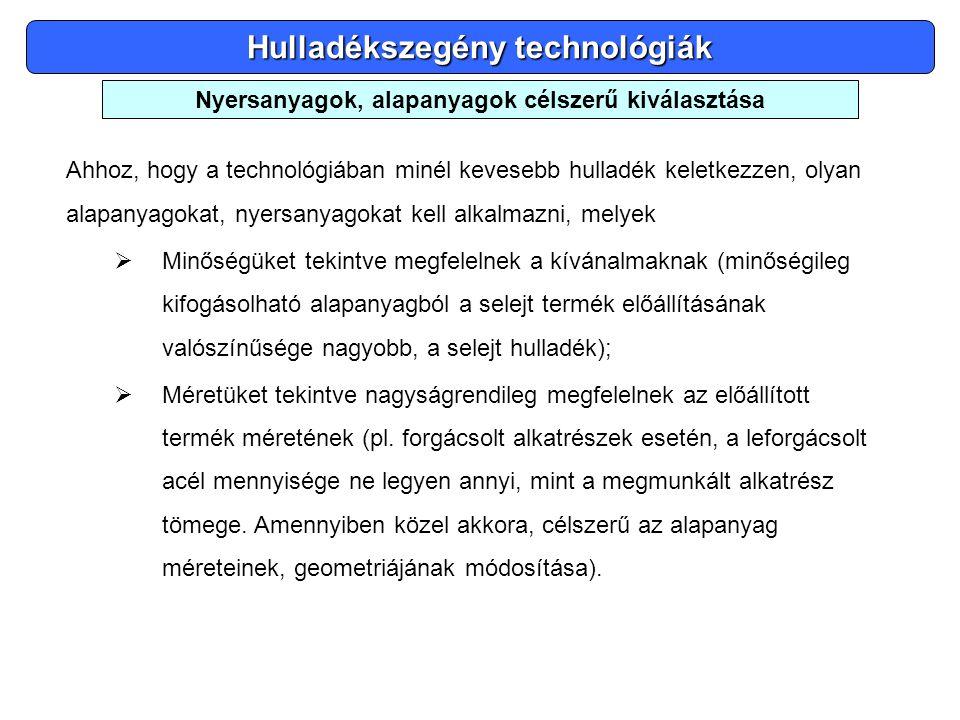 Hulladékszegény technológiák Ahhoz, hogy a technológiában minél kevesebb hulladék keletkezzen, olyan alapanyagokat, nyersanyagokat kell alkalmazni, me