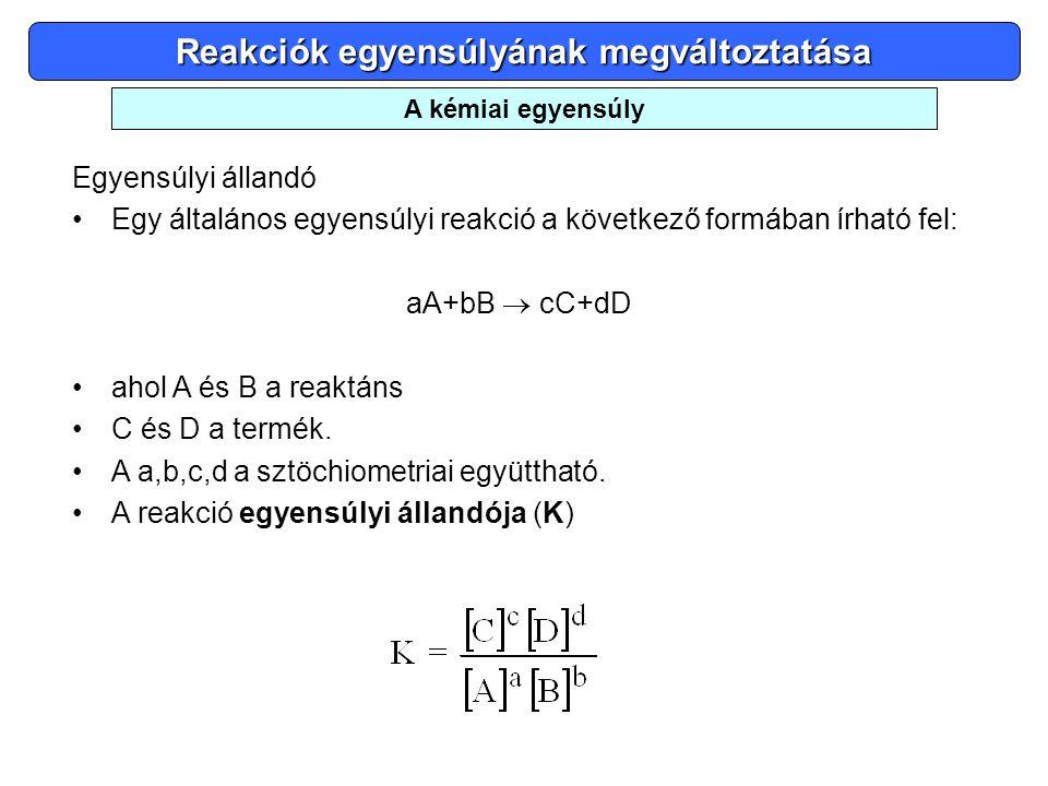 Reakciók egyensúlyának megváltoztatása Egyensúlyi állandó •Egy általános egyensúlyi reakció a következő formában írható fel: aA+bB  cC+dD •ahol A és