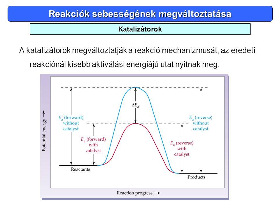 Reakciók sebességének megváltoztatása A katalizátorok megváltoztatják a reakció mechanizmusát, az eredeti reakciónál kisebb aktiválási energiájú utat
