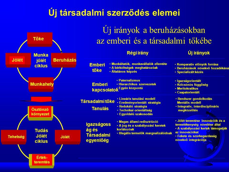 Tehetség Ösztönző környezet Érték- teremtés Jólét Munka jólét ciklus Munkahely JólétBeruházás Tőke Tudás Jólét ciklus Új társadalmi szerződés elemei • Rendszer gondolkodás Mentális modell • Integratív, interdisciplináris megközelítés • Jólét teremtése innovációk és a termelékenység növelése által • A szabályozási kertek támogatják az innovációkat • Fekete és szürkegazdaság növekvő integrációja Régi irányÚj irányok Társadalmi tőke Emberi kapcsolatok • Paternalizmus • Hierarchikus szervezetek • Egyén központú • Igazságorientált • Kölcsönös függőség • Meritokratikus • Csapatorientált Emberi tőke • Munkáltatók, munkavállalók ellentéte • A bérköltségek meghatározóak • Általános képzés • Komparatív előnyök forrása • Beruházások növekvő hozadékának.