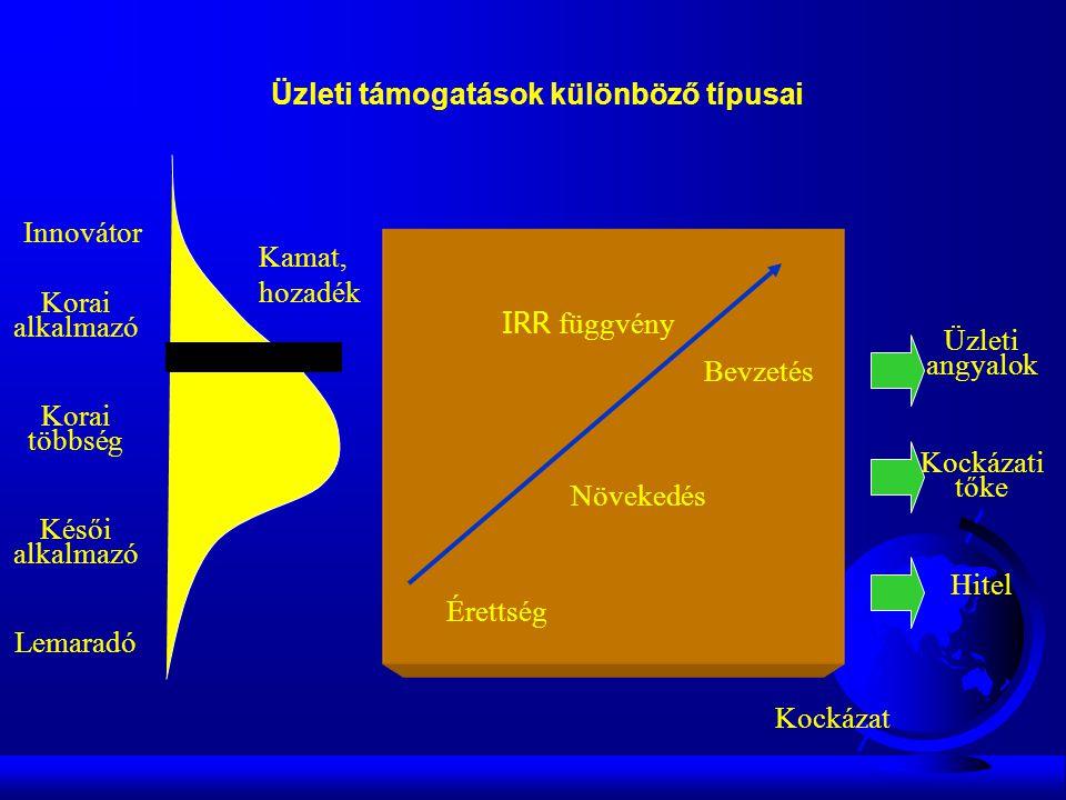 Innovátor Korai alkalmazó Korai többség Késői alkalmazó Lemaradó IRR függvény Kamat, hozadék Kockázat Érettség Növekedés Bevzetés Üzleti angyalok Kockázati tőke Hitel Üzleti támogatások különböző típusai