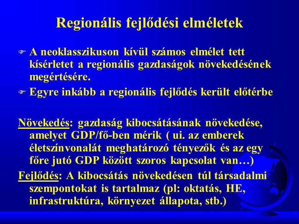Regionális fejlődési elméletek F A neoklasszikuson kívül számos elmélet tett kísérletet a regionális gazdaságok növekedésének megértésére.