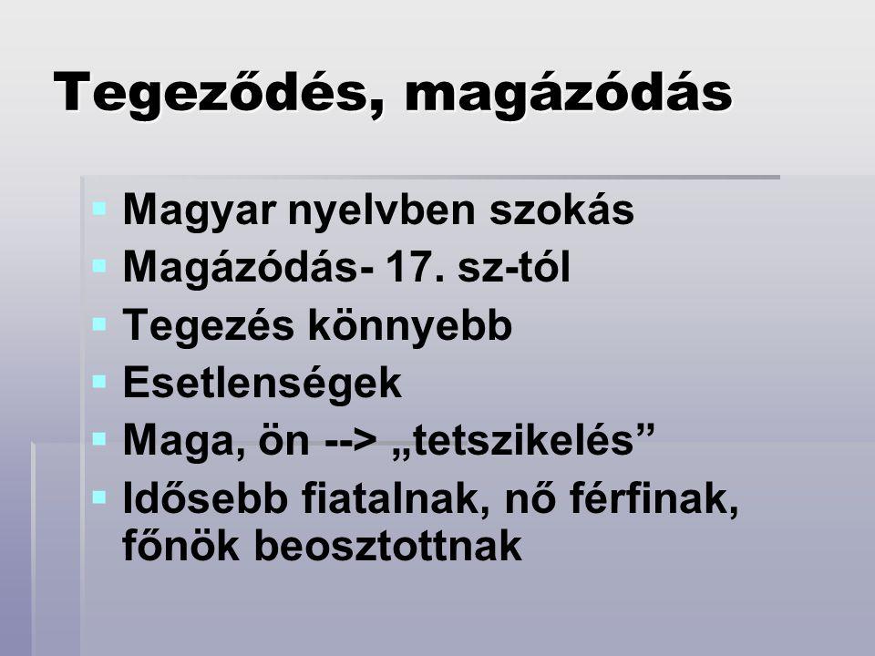 """Tegeződés, magázódás   Magyar nyelvben szokás   Magázódás- 17. sz-tól   Tegezés könnyebb   Esetlenségek   Maga, ön --> """"tetszikelés""""   Idő"""