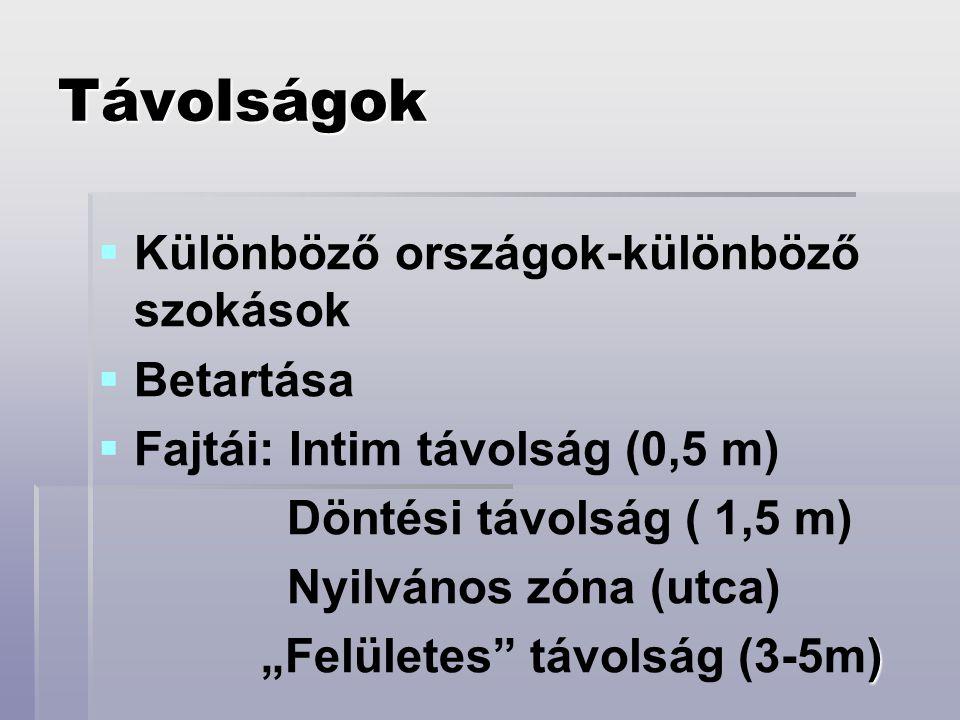 Távolságok   Különböző országok-különböző szokások   Betartása   Fajtái: Intim távolság (0,5 m) Döntési távolság ( 1,5 m) Nyilvános zóna (utca)