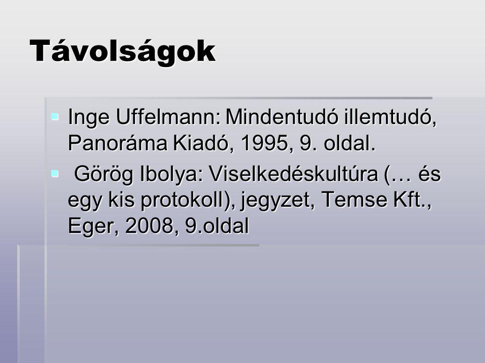Távolságok  Inge Uffelmann: Mindentudó illemtudó, Panoráma Kiadó, 1995, 9. oldal.  Görög Ibolya: Viselkedéskultúra (… és egy kis protokoll), jegyzet