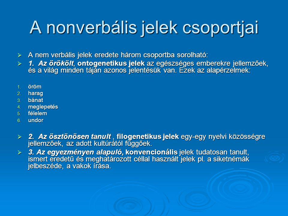 A nonverbális jelek csoportjai  A nem verbális jelek eredete három csoportba sorolható:  1. Az örökölt, ontogenetikus jelek az egészséges emberekre