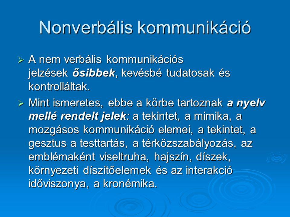 Nonverbális kommunikáció  A nem verbális kommunikációs jelzések ősibbek, kevésbé tudatosak és kontrolláltak.  Mint ismeretes, ebbe a körbe tartoznak