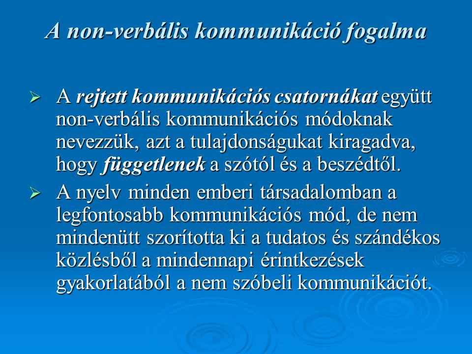 A non-verbális kommunikáció fogalma  A rejtett kommunikációs csatornákat együtt non-verbális kommunikációs módoknak nevezzük, azt a tulajdonságukat k