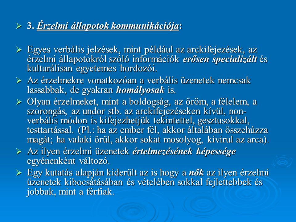  3. Érzelmi állapotok kommunikációja:  Egyes verbális jelzések, mint például az arckifejezések, az érzelmi állapotokról szóló információk erősen spe