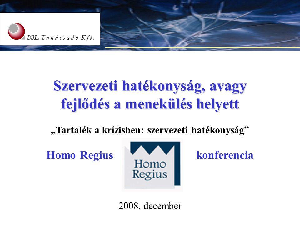 """1 Szervezeti hatékonyság, avagy fejlődés a menekülés helyett """"Tartalék a krízisben: szervezeti hatékonyság"""" Homo Regius konferencia 2008. december"""