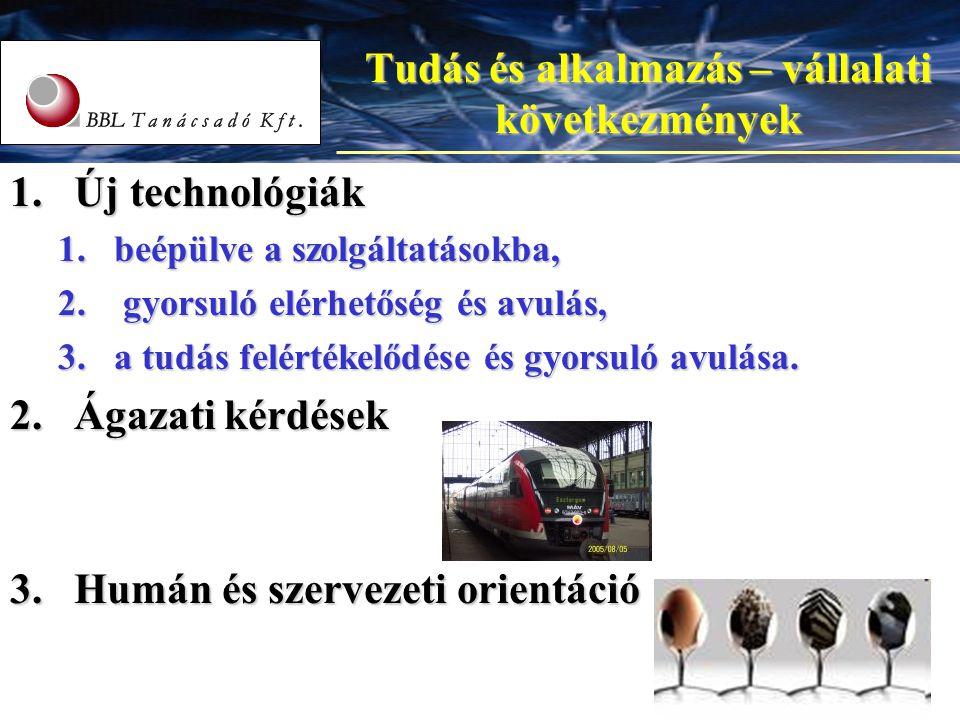8 8 Tudás és alkalmazás – vállalati következmények 1.Új technológiák 1.beépülve a szolgáltatásokba, 2. gyorsuló elérhetőség és avulás, 3.a tudás felér