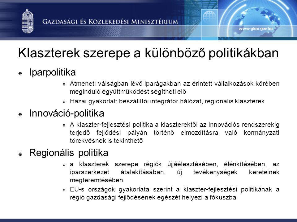 Klaszterek szerepe a különböző politikákban ] Iparpolitika ] Átmeneti válságban lévő iparágakban az érintett vállalkozások körében meginduló együttműk