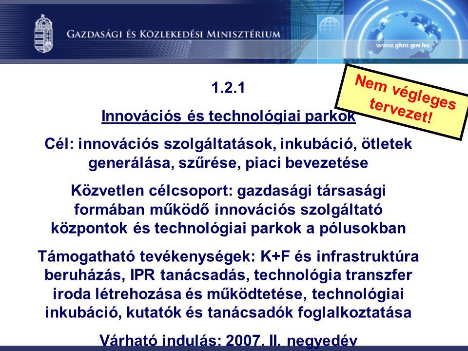 1.2.1 Innovációs és technológiai parkok Cél: innovációs szolgáltatások, inkubáció, ötletek generálása, szűrése, piaci bevezetése Közvetlen célcsoport: