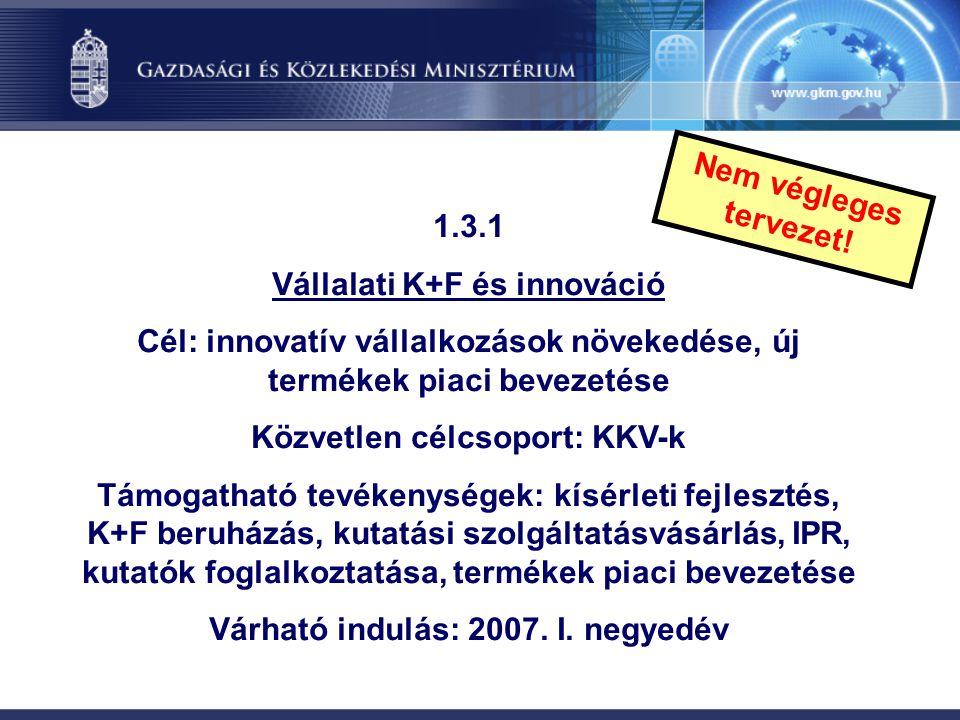 1.3.1 Vállalati K+F és innováció Cél: innovatív vállalkozások növekedése, új termékek piaci bevezetése Közvetlen célcsoport: KKV-k Támogatható tevéken