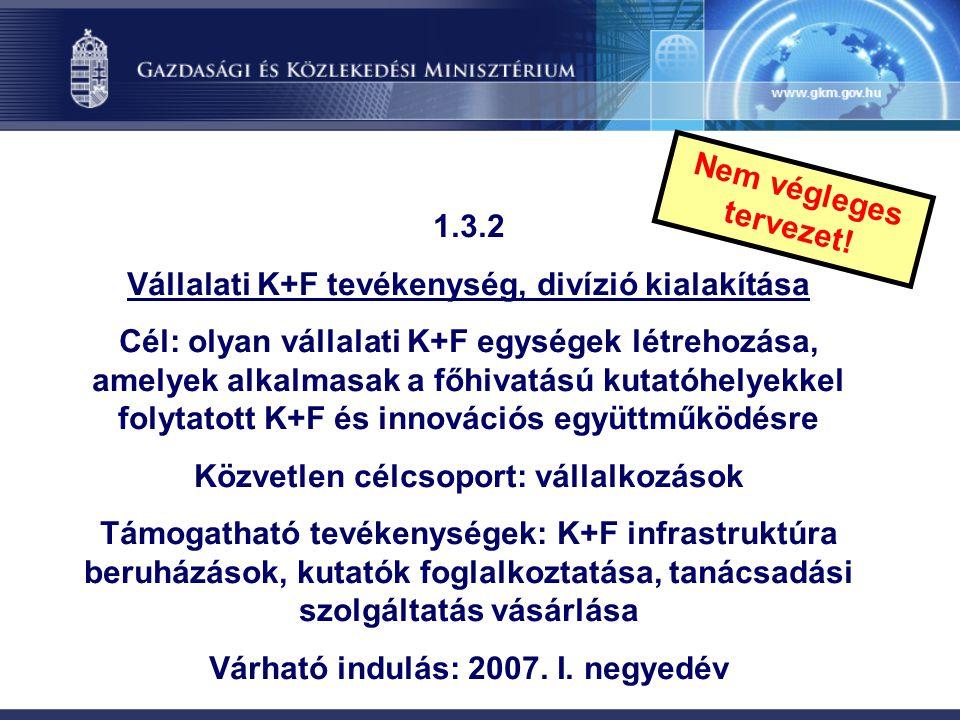 1.3.2 Vállalati K+F tevékenység, divízió kialakítása Cél: olyan vállalati K+F egységek létrehozása, amelyek alkalmasak a főhivatású kutatóhelyekkel fo