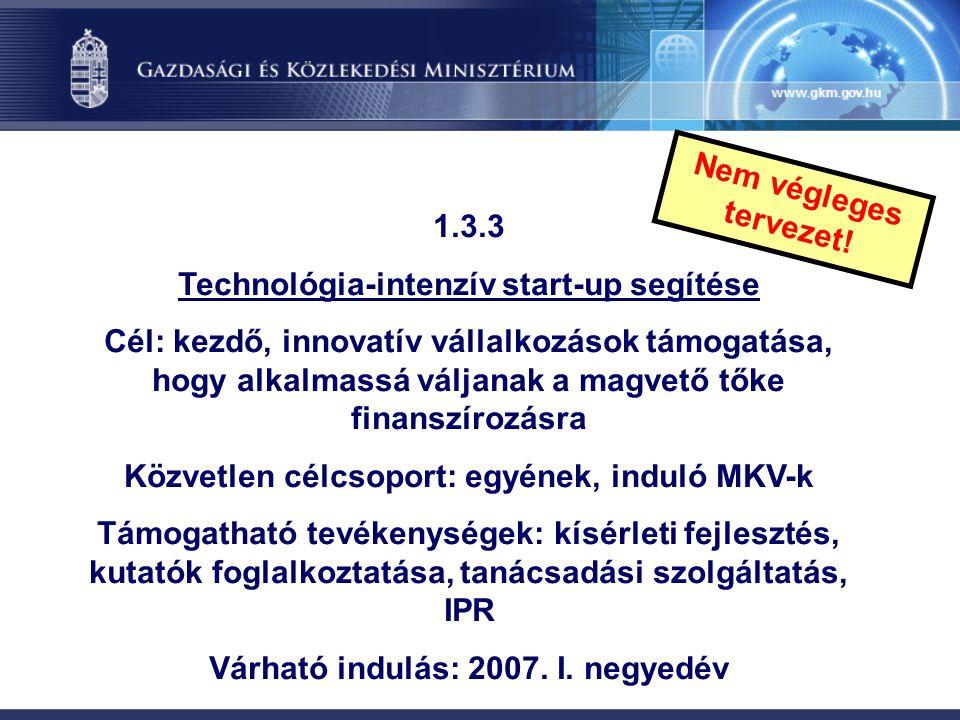 1.3.3 Technológia-intenzív start-up segítése Cél: kezdő, innovatív vállalkozások támogatása, hogy alkalmassá váljanak a magvető tőke finanszírozásra K