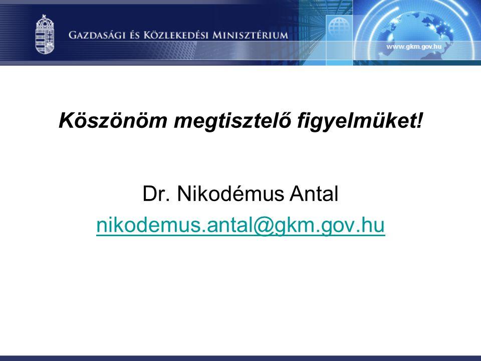 Köszönöm megtisztelő figyelmüket! Dr. Nikodémus Antal nikodemus.antal@gkm.gov.hu