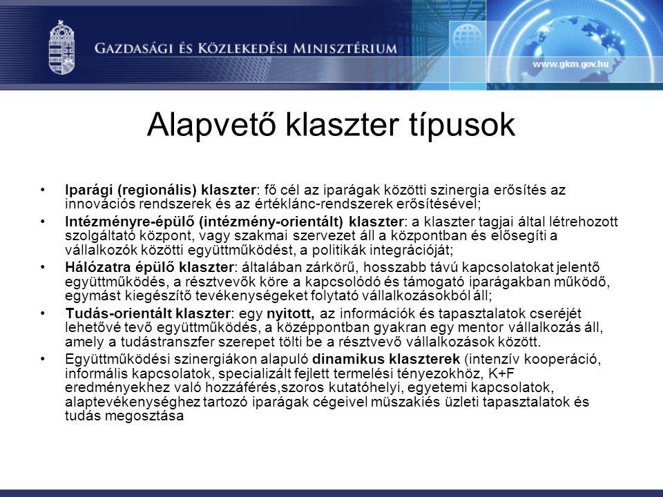 Alapvető klaszter típusok •Iparági (regionális) klaszter: fő cél az iparágak közötti szinergia erősítés az innovációs rendszerek és az értéklánc-rends