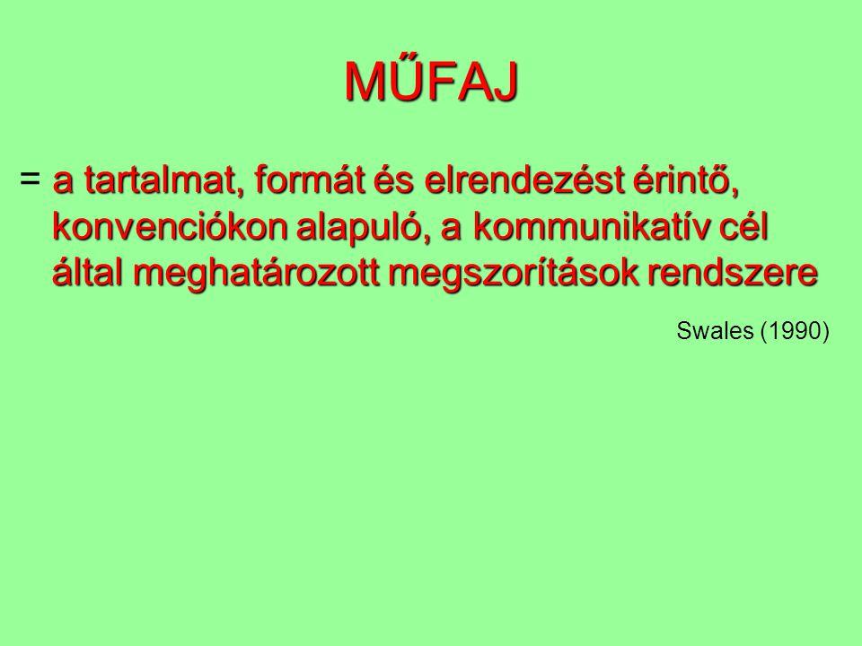 MŰFAJ a tartalmat, formát és elrendezést érintő, konvenciókon alapuló, a kommunikatív cél által meghatározott megszorítások rendszere = a tartalmat, f