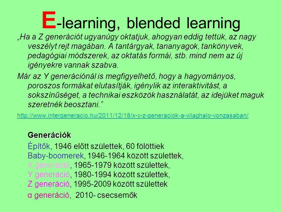 """E -learning, blended learning """"Ha a Z generációt ugyanúgy oktatjuk, ahogyan eddig tettük, az nagy veszélyt rejt magában. A tantárgyak, tananyagok, tan"""