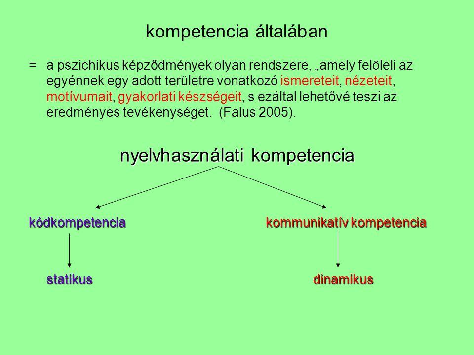 """kompetencia általában =a pszichikus képződmények olyan rendszere, """"amely felöleli az egyénnek egy adott területre vonatkozó ismereteit, nézeteit, motí"""