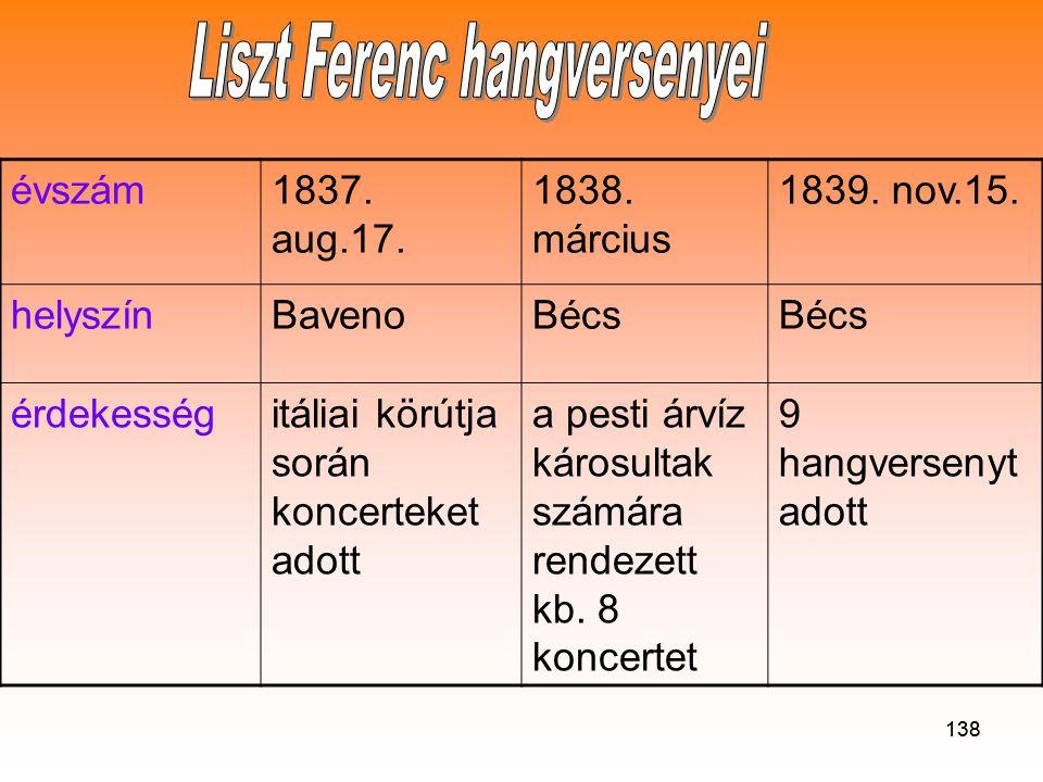 138 évszám1837.aug.17. 1838. március 1839. nov.15.