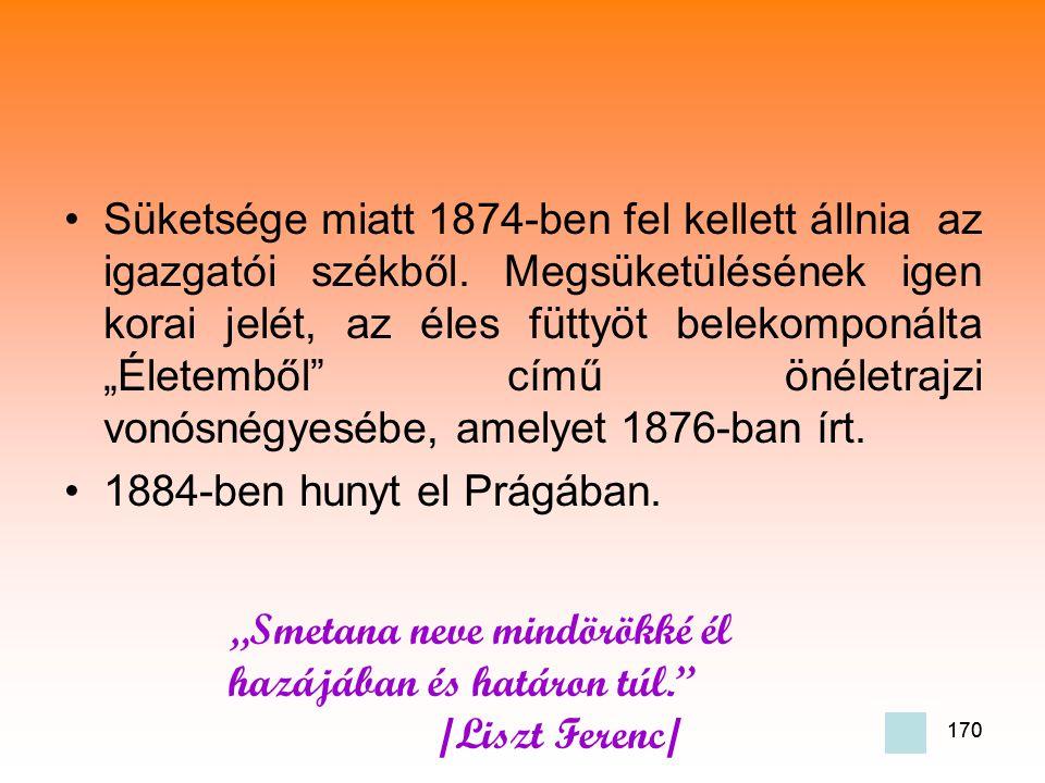 170 •Süketsége miatt 1874-ben fel kellett állnia az igazgatói székből.