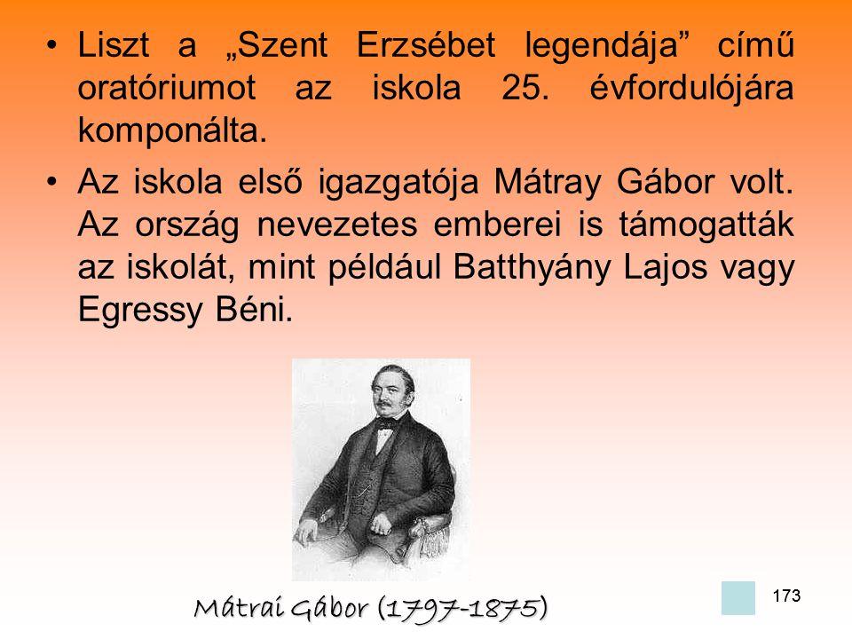 """173 •L•Liszt a """"Szent Erzsébet legendája című oratóriumot az iskola 25."""
