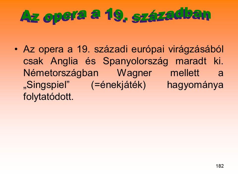 182 •Az opera a 19.századi európai virágzásából csak Anglia és Spanyolország maradt ki.
