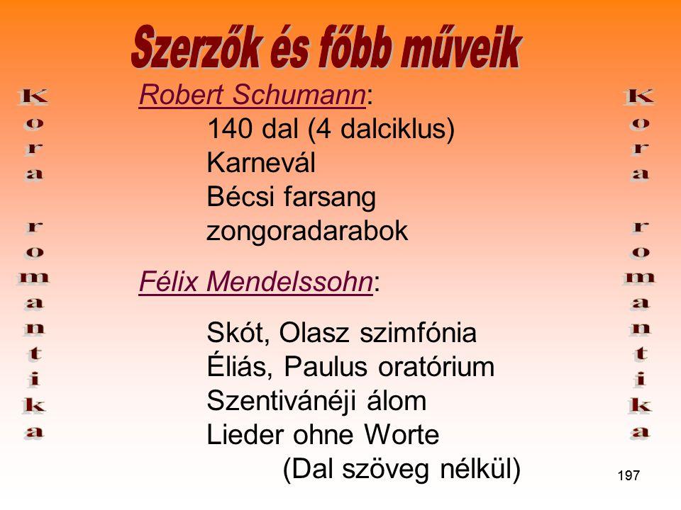 197 Robert Schumann: 140 dal (4 dalciklus) Karnevál Bécsi farsang zongoradarabok Félix Mendelssohn: Skót, Olasz szimfónia Éliás, Paulus oratórium Szentivánéji álom Lieder ohne Worte (Dal szöveg nélkül)
