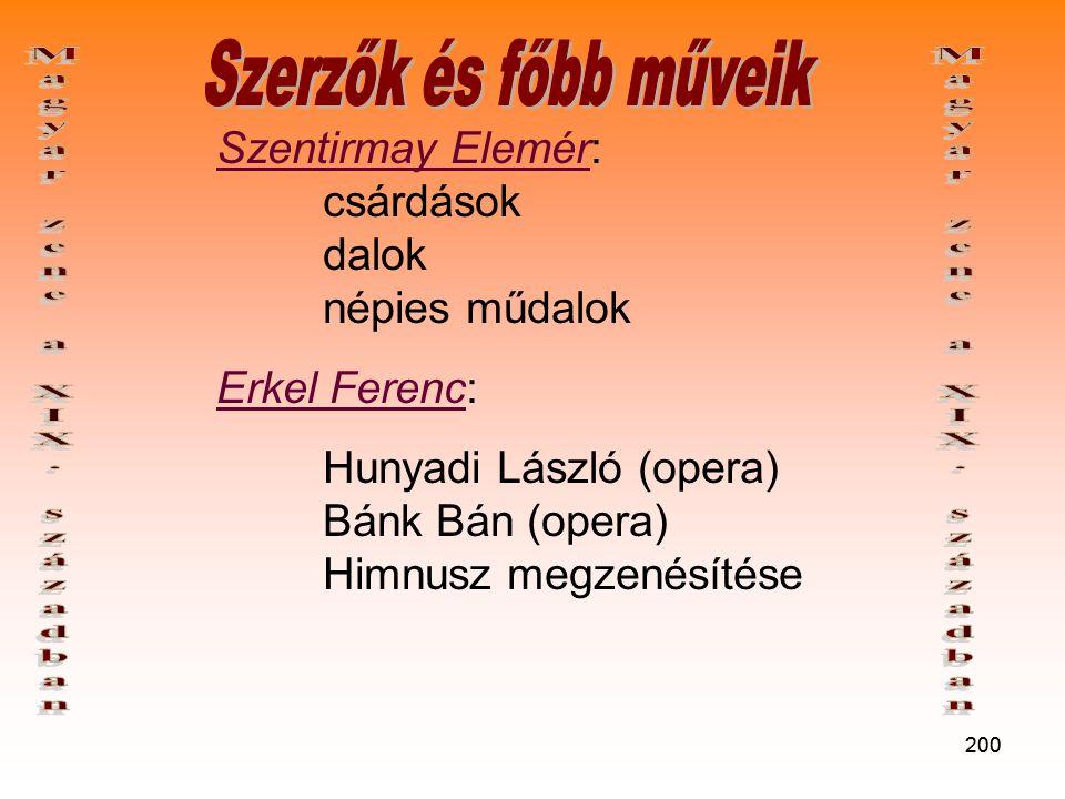 200 Szentirmay Elemér: csárdások dalok népies műdalok Erkel Ferenc: Hunyadi László (opera) Bánk Bán (opera) Himnusz megzenésítése
