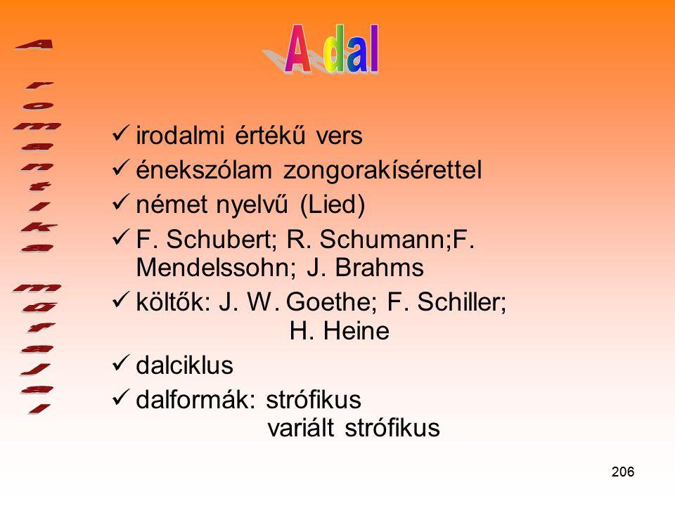 206  irodalmi értékű vers  énekszólam zongorakísérettel  német nyelvű (Lied)  F.