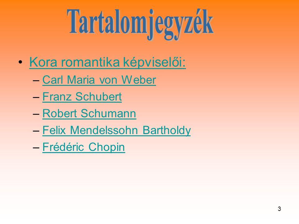 54 •Schumann eredetileg jogásznak készült, de már fiatalon a zeneszerzés felé fordult, miután koncertzongorista pályája meghiúsult, ugyanis a nagyobb hangközök átfogása érdekében tágító technikával kísérletezve tönkretette balkezét, ezután felesége játszotta darabjait, aki a kor híres zongoraművésze volt.