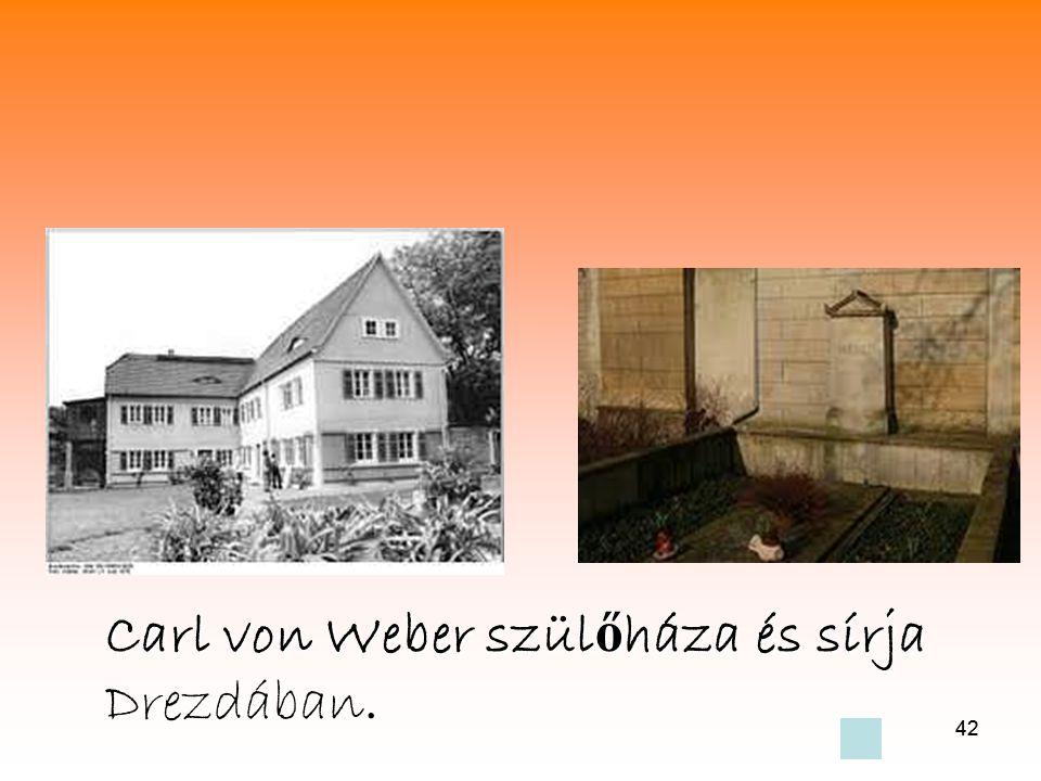 42 Carl von Weber szül ő háza és sírja Drezdában.