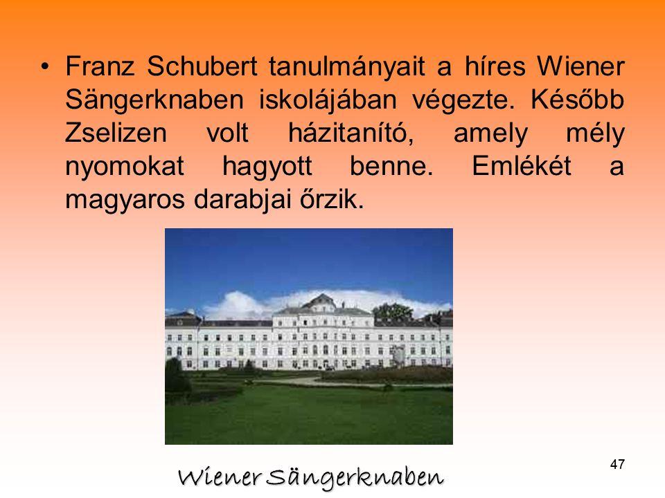 47 •Franz Schubert tanulmányait a híres Wiener Sängerknaben iskolájában végezte.