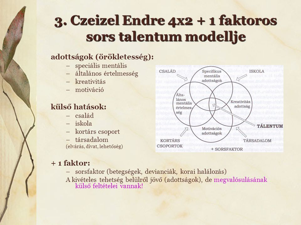 3. Czeizel Endre 4x2 + 1 faktoros sors talentum modellje adottságok (örökletesség): –speciális mentális –általános értelmesség –kreativitás –motiváció