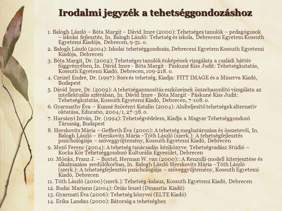 Irodalmi jegyzék a tehetséggondozáshoz 1. Balogh László – Bóta Margit – Dávid Imre (2000): Tehetséges tanulók – pedagógusok – iskolai fejlesztés, In.