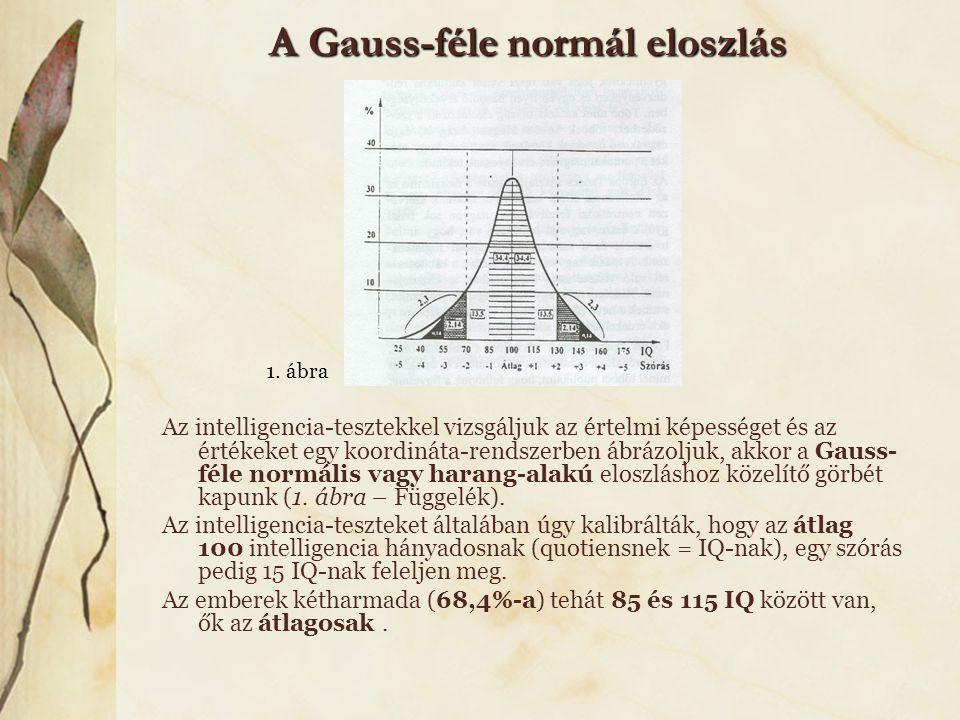 A Gauss-féle normál eloszlás Az intelligencia-tesztekkel vizsgáljuk az értelmi képességet és az értékeket egy koordináta-rendszerben ábrázoljuk, akkor