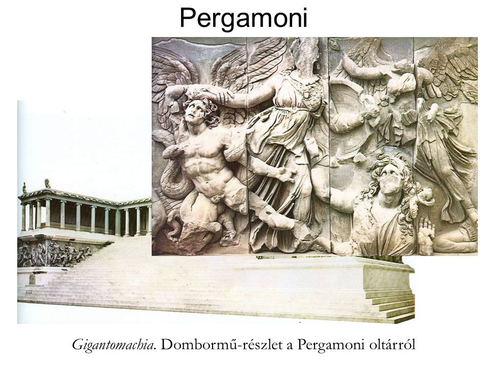 Pergamoni Zeusz-oltár Kr.e. 180 Gigantomachia. Dombormű-részlet a Pergamoni oltárról