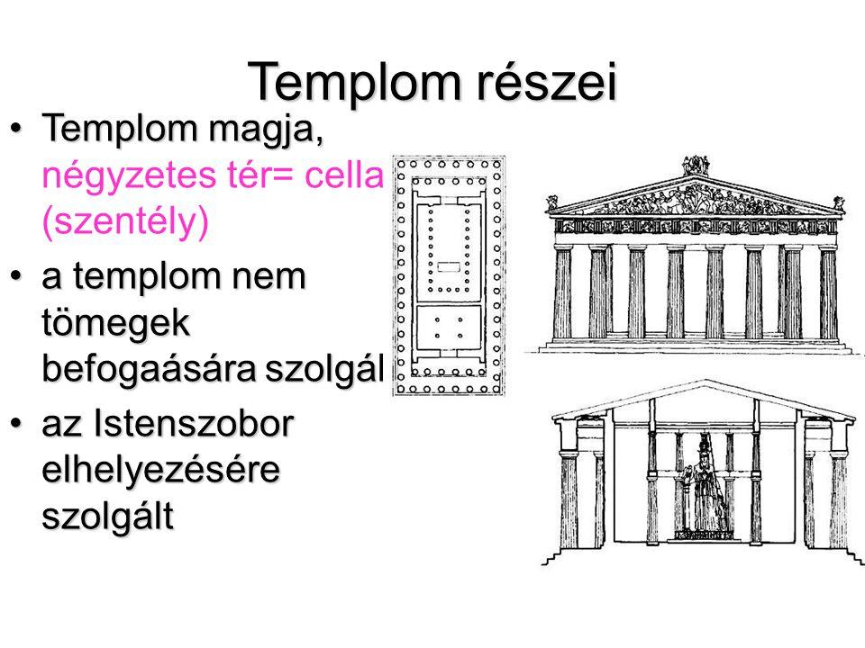 Templom részei •Templom magja, •Templom magja, négyzetes tér= cella (szentély) •a templom nem tömegek befogaására szolgált •az Istenszobor elhelyezésére szolgált