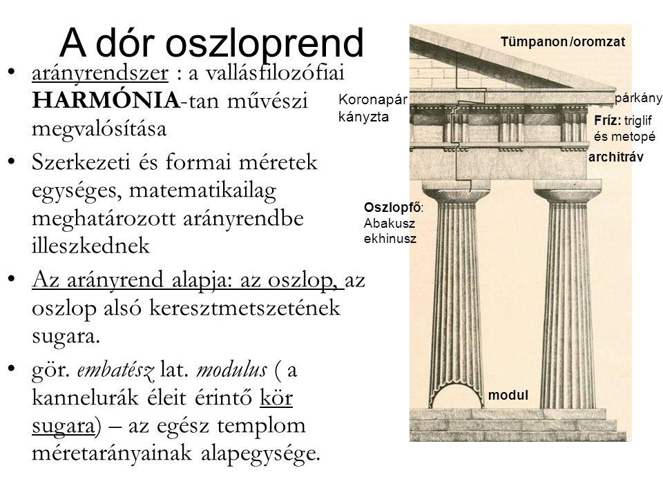 A dór oszloprend •arányrendszer : a vallásfilozófiai HARMÓNIA-tan művészi megvalósítása •Szerkezeti és formai méretek egységes, matematikailag meghatá