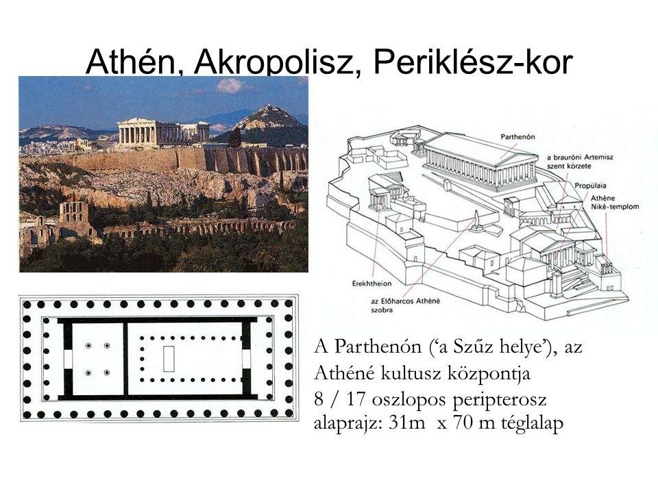 Athén, Akropolisz, Periklész-kor A Parthenón ('a Szűz helye'), az Athéné kultusz központja 8 / 17 oszlopos peripterosz alaprajz: 31m x 70 m téglalap