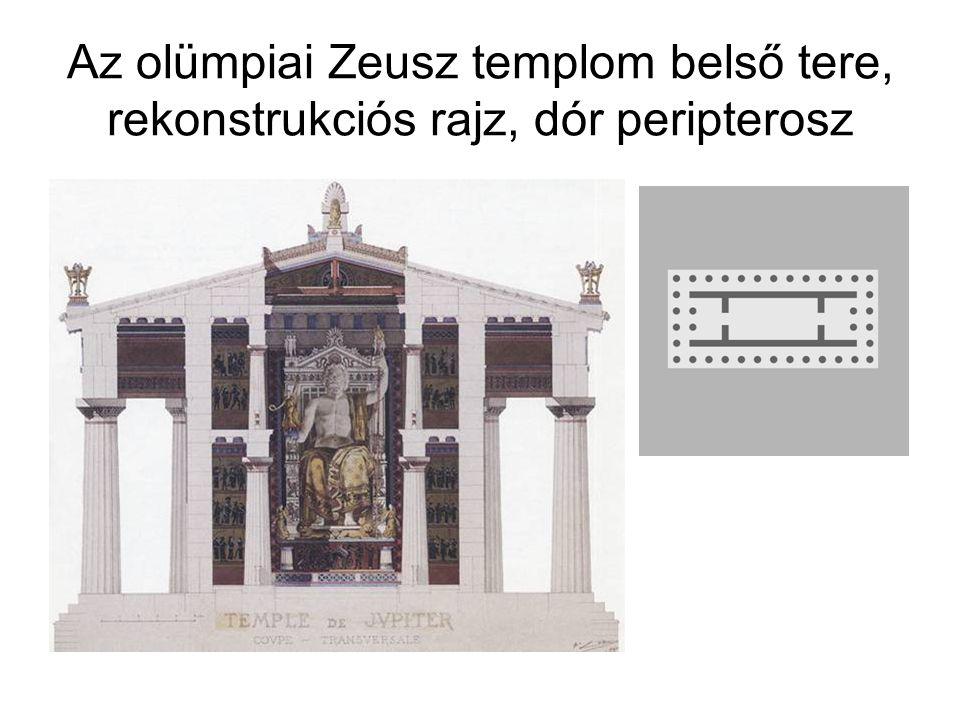 Az olümpiai Zeusz templom belső tere, rekonstrukciós rajz, dór peripterosz