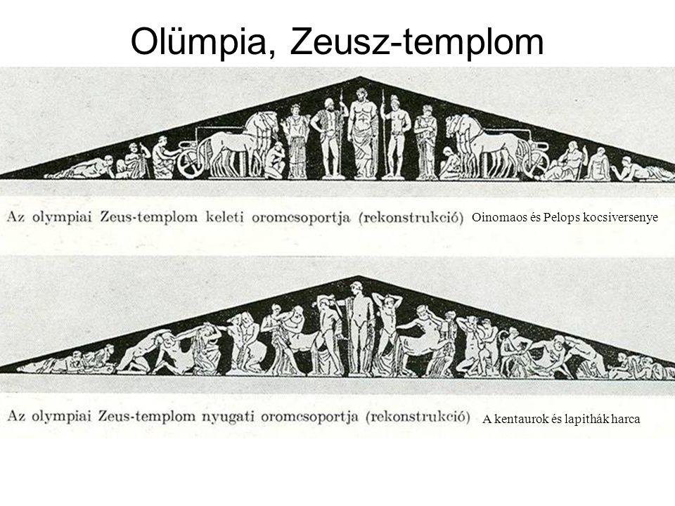 Olümpia, Zeusz-templom tümpanonjai Oinomaos és Pelops kocsiversenye A kentaurok és lapithák harca