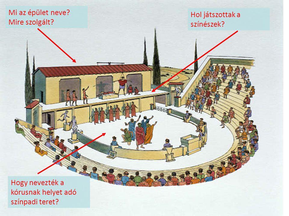 Mi az épület neve? Mire szolgált? Hol játszottak a színészek? Hogy nevezték a kórusnak helyet adó színpadi teret?